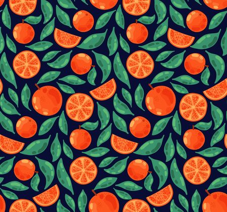 Orange fruits colorful seamless vector pattern