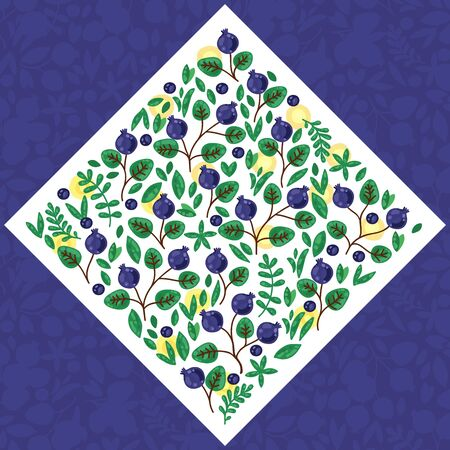 Blueberry leafs floral doodle rhomb shape vector illustration
