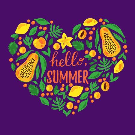 Tropical summer fruits heart shape decorative element vector illustration