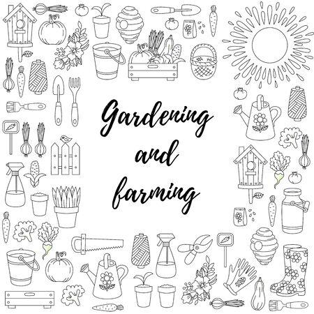 Gardening farming doodle icons squre frame vector design