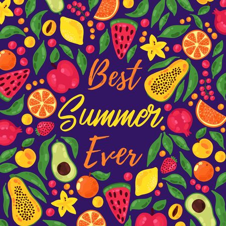 Colorful summer fruits vector icons banner template Stock Photo