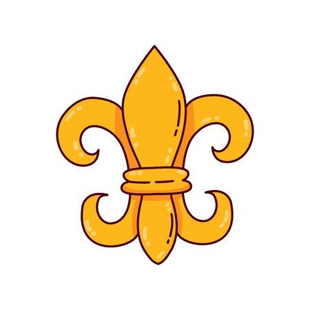 Golden lily flower royal kingly symbol vector icon Illustration