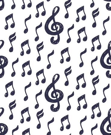 Musical notes and treble clef simple sketchy seamless vector pattern