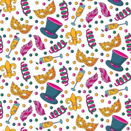 Masquerade party doodle cartoon colorful icons seamless vector pattern
