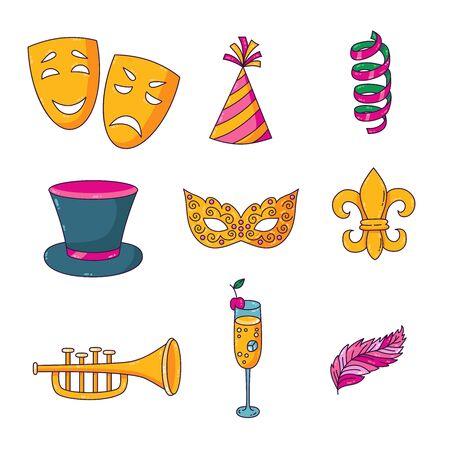 Masquerade doodle cartoon colorful icons vector set Illustration