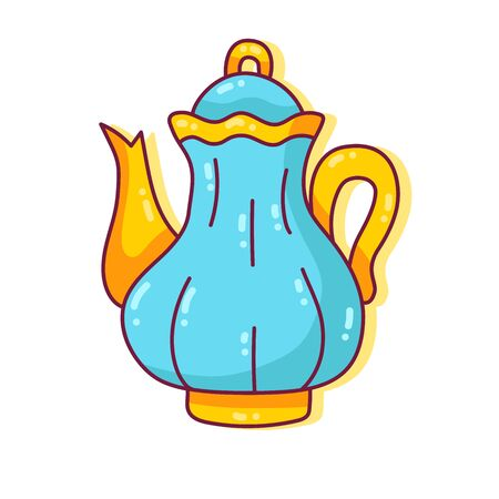 Teapot colorful cute doodle tableware vector icon Illustration