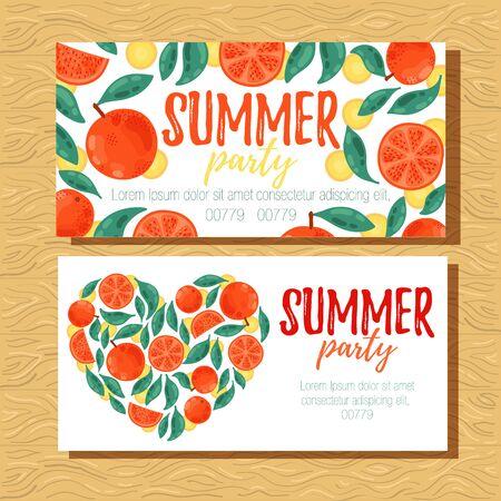 Oranges summer party banner design templates vector illustration