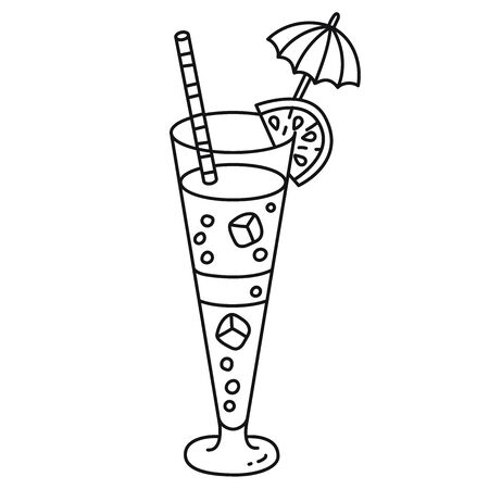 Cocktail with ice lemon and umbrella decoration doodle line black and white vector icon