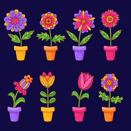Flowers in pot plants cute floral drawings vector icons set Illustration