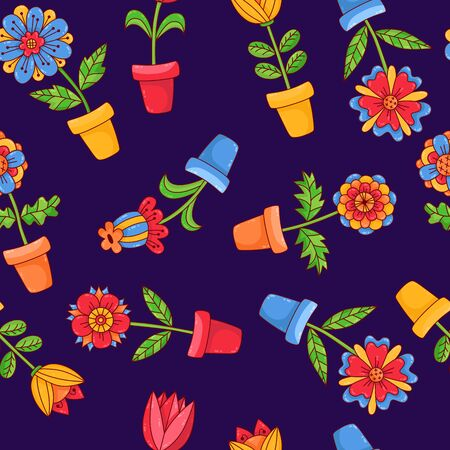 Flowers in pots plants doodle cartoon seamless vector pattern