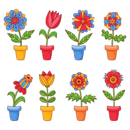Cute house plants flowers in pot vector set colorful cartoon icons