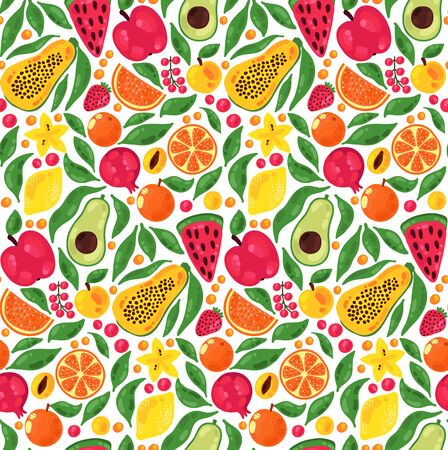 Fruits floral botanical colorful seamless vector pattern