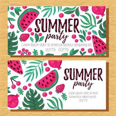 Watermelon summer fruits and leafs banner design temlates
