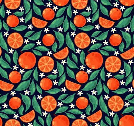Orange flowers fruits doodle colorful seamless vector pattern Stok Fotoğraf - 130052421