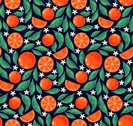 Orange flowers fruits doodle colorful seamless vector pattern Illustration