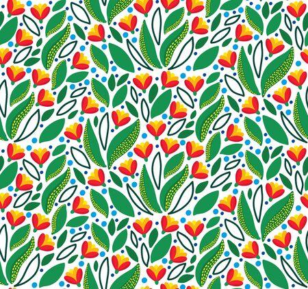 Floral  garden flowers botanical seamless vector pattern Ilustração