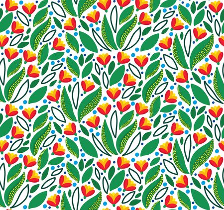 Floral  garden flowers botanical seamless vector pattern Illustration