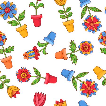 Flowers in pot cute colorful seamless vector pattern