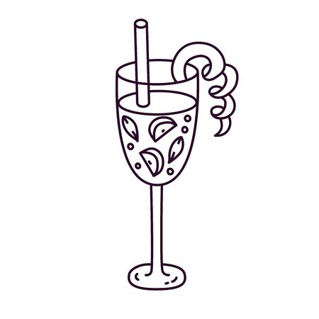Cocktail beverage drink in glass doodle vector icon