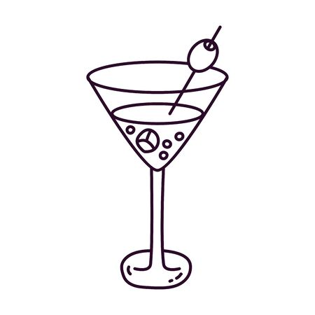Maritni with olive drink beverage doodle vector icon