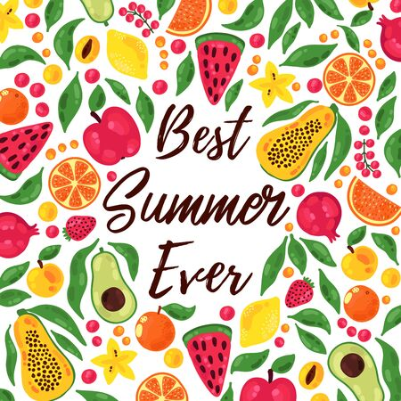 Summer exotic tropical icons vector banner template
