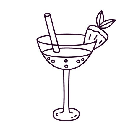 Cocktail drink beverage doodle line vector icon