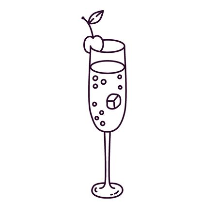 Cocktail alcohol drink with cherry bubbles and ice doodle vector illustration