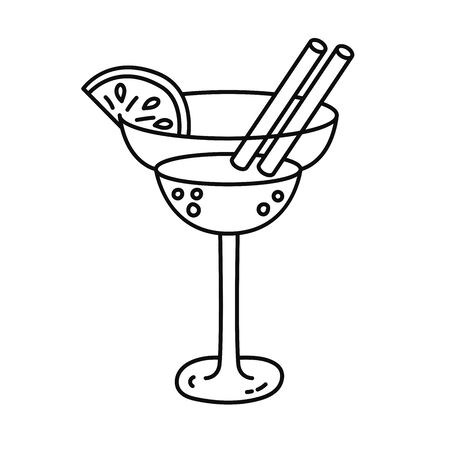 Cocktail with lemon decoration doodle line vector icons black and white
