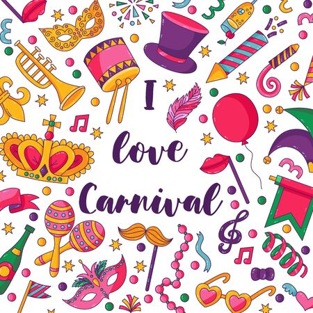 Carnival festival masquerade square banner templste cute caroon colorful icons vector set