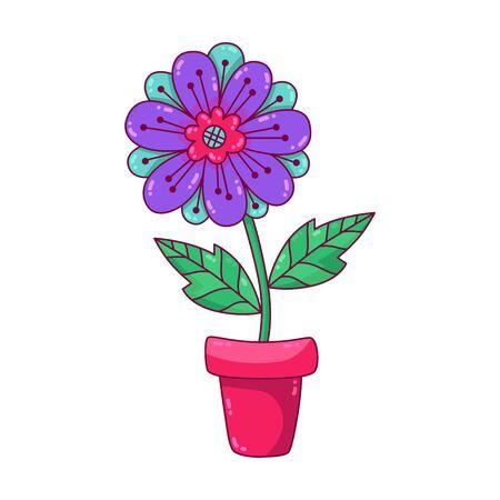 Flower on pot house plant doodle cartoon vector icon