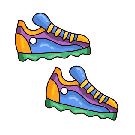 Sneakers sport shoes doodle cartoon colorful vector icon