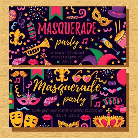 Masquerade party invitation with colorful festive icons banner vector template Ilustração