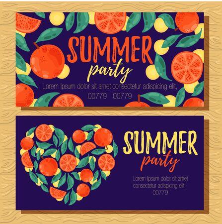 Oranges citrus fruits colorful summer banners template vector design