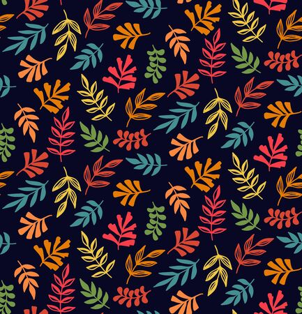 Floral colorful decorative forest leafs seamless vector pattern