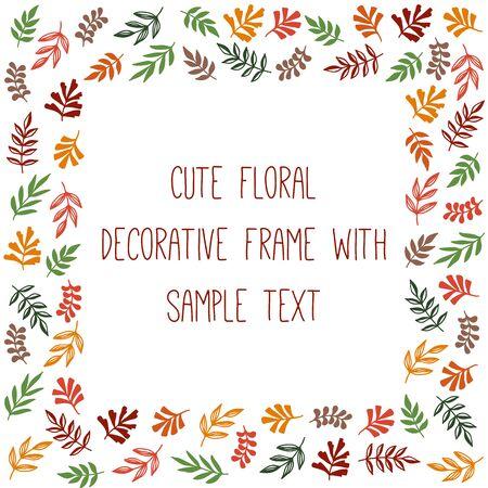 Floral forest fall decorative square frame text border design vector illustration Ilustração