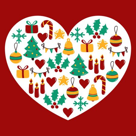 Heart shape Christmas New Year winter holidays icons vector set Ilustração