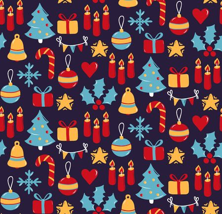 Christmas New Year colorful cute holiday symbols flat icons seamless vector pattern