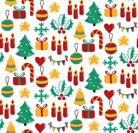 Christmas New yeat doodle colorful cute icons holiday symbols seamless vector pattern