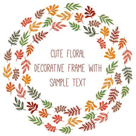 Floral botanical leaf round frame decorative vector design Ilustração