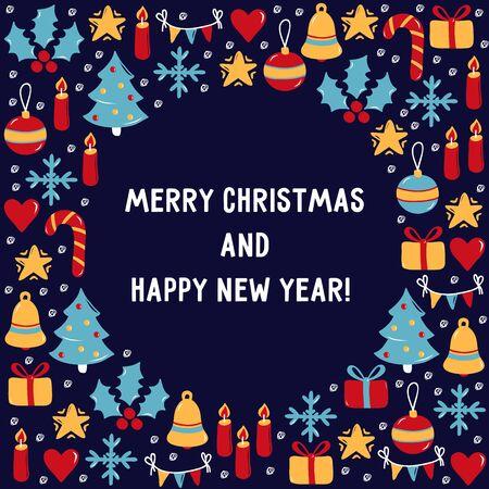 Christmas New Year vector icons greeting card design template Ilustração