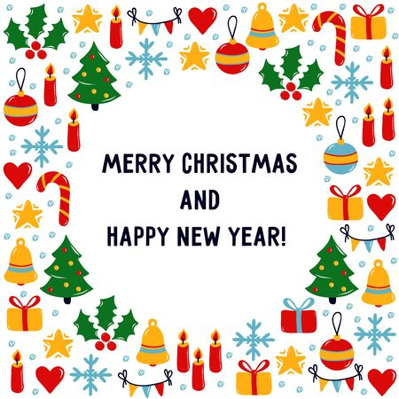 Christmas doodle icons New Year Winter holidays greeting card design Ilustração