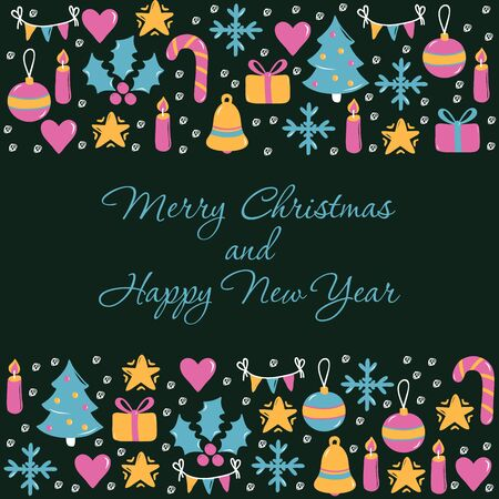 Christmas greeting card template vector illustration for New Year and winter holidays