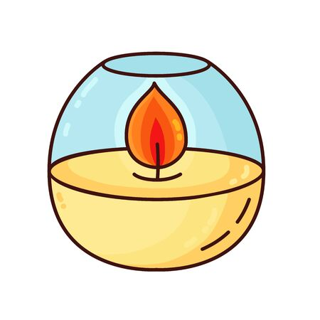 Cute doodle cartoon colorful candle vector icon