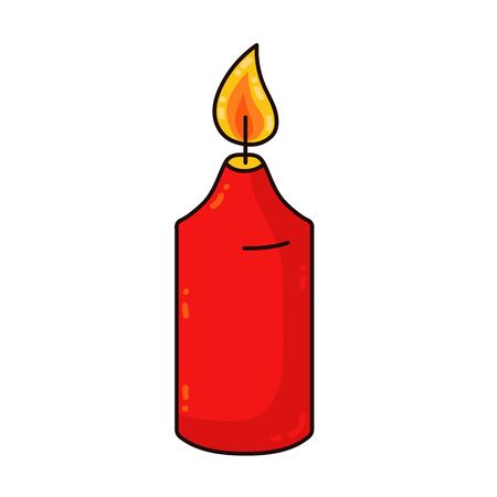 Red candle cute cartoon vector icon isolated