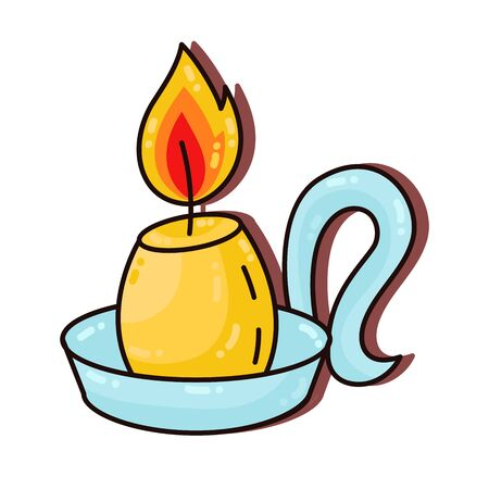 Cute candle colorful cartoon doodle vector icon Stok Fotoğraf - 137889370