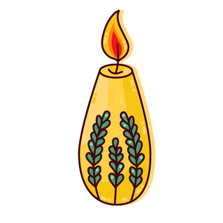 Candle with floral decoration cute colorful cartoon vector icon