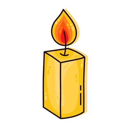 Candle decor element doodle cartoon colorful vector icon Ilustração