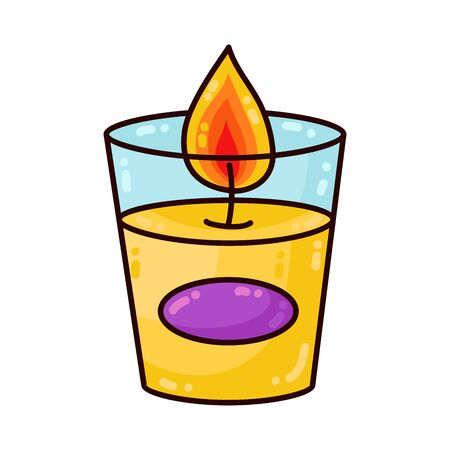 Candle in glass cute colorful cartoon vector icon Imagens - 137889663