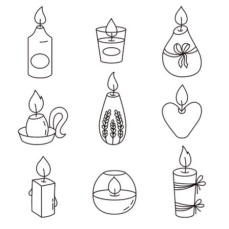 Candles doodle black and white graphic icons  vector set Imagens - 137889557