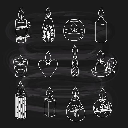 Candles doodle iconson chalk board background. Isolated